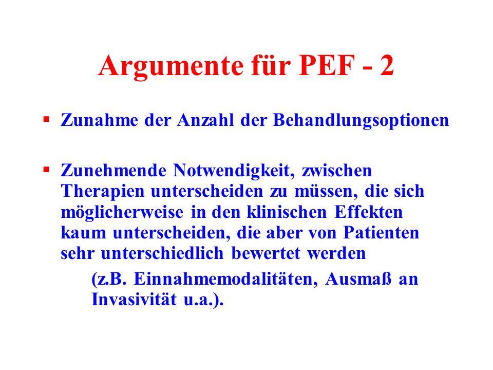 Argumente für PEF - 2 Zunahme der Anzahl der Behandlungsoptionen