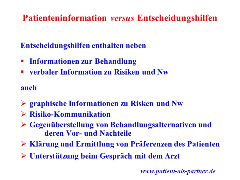 Patienteninformation versus Entscheidungshilfen