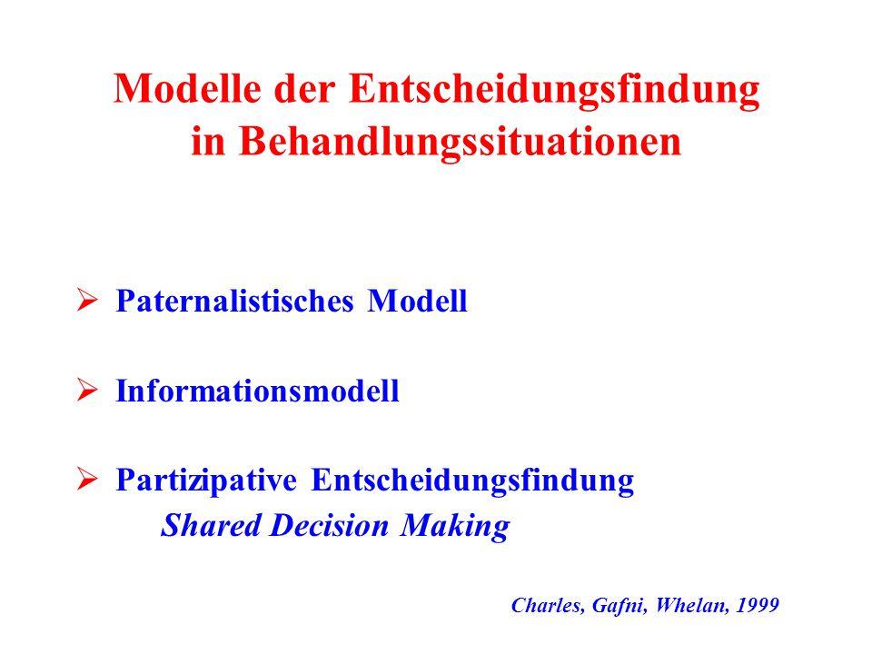 Modelle der Entscheidungsfindung in Behandlungssituationen