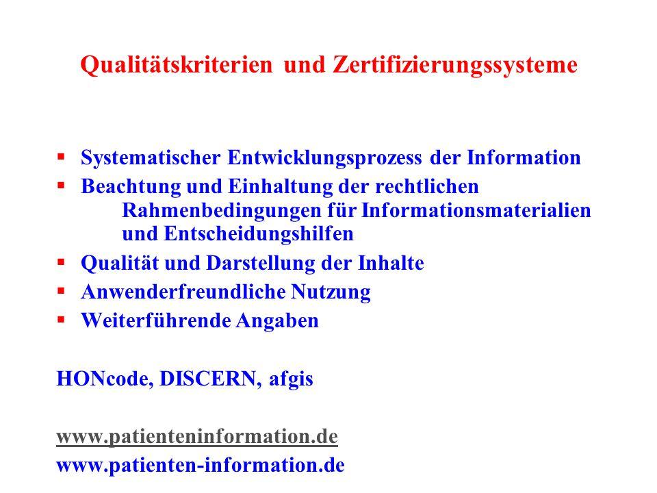 Qualitätskriterien und Zertifizierungssysteme