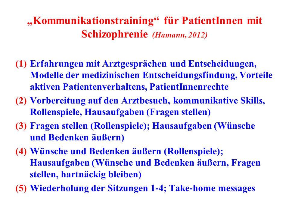 """""""Kommunikationstraining für PatientInnen mit Schizophrenie (Hamann, 2012)"""