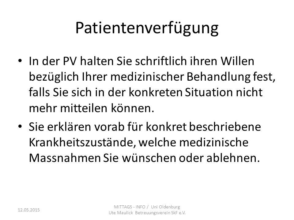 MITTAGS - INFO / Uni Oldenburg Ute Maulick Betreuungsverein SkF e.V.