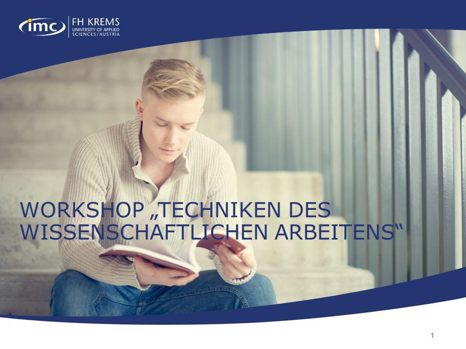 """Workshop """"Techniken des wissenschaftlichen arbeitens"""