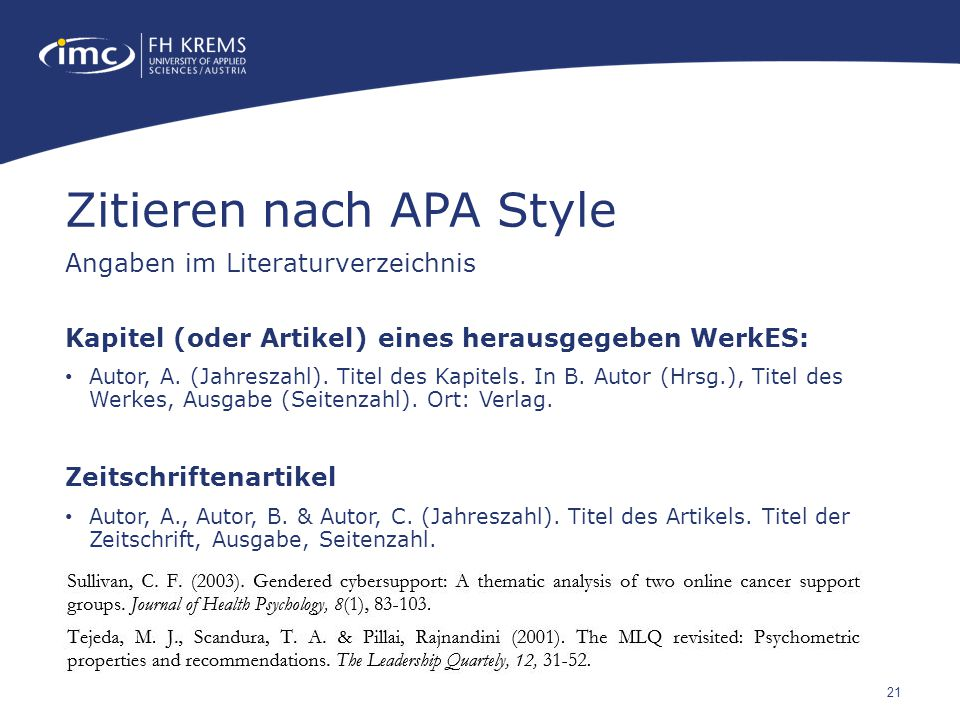 Zitieren nach APA Style