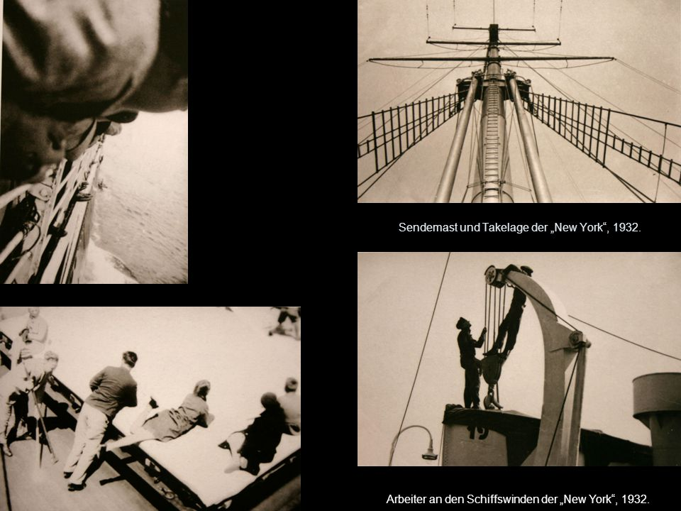"""Sendemast und Takelage der """"New York , 1932."""