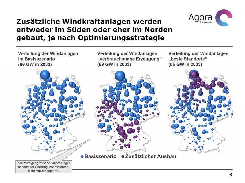 Zusätzliche Windkraftanlagen werden entweder im Süden oder eher im Norden gebaut, je nach Optimierungsstrategie