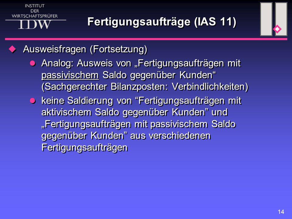 Fertigungsaufträge (IAS 11)
