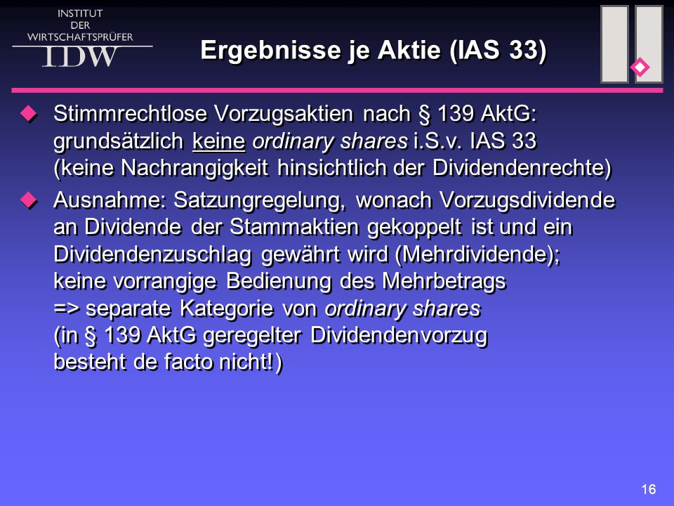 Ergebnisse je Aktie (IAS 33)