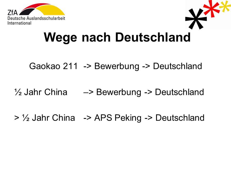 Wege nach Deutschland Gaokao 211 -> Bewerbung -> Deutschland