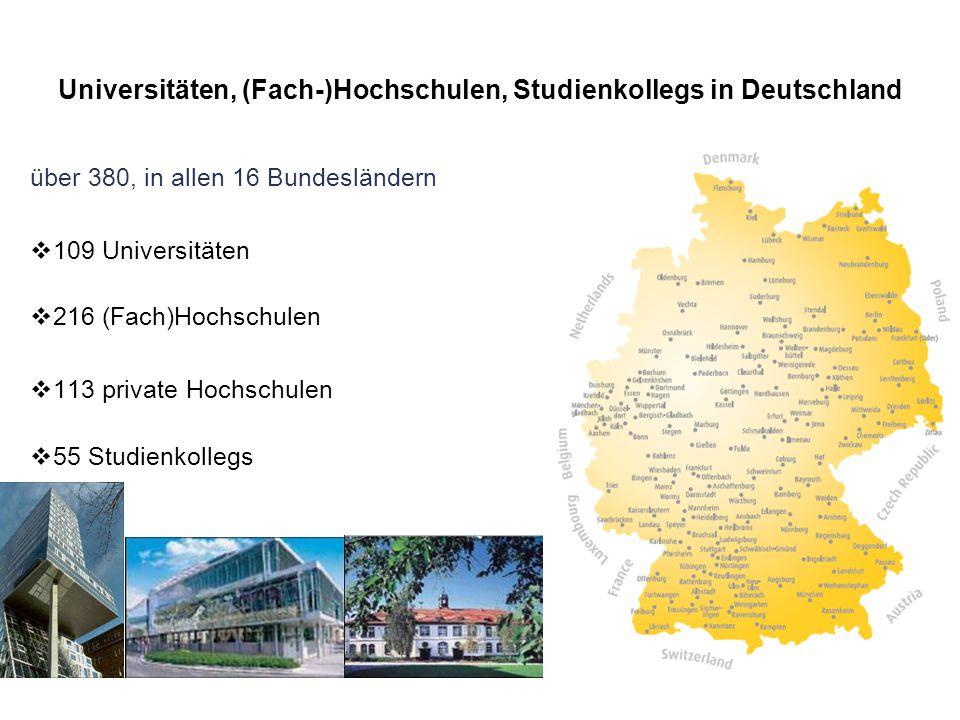 Universitäten, (Fach-)Hochschulen, Studienkollegs in Deutschland