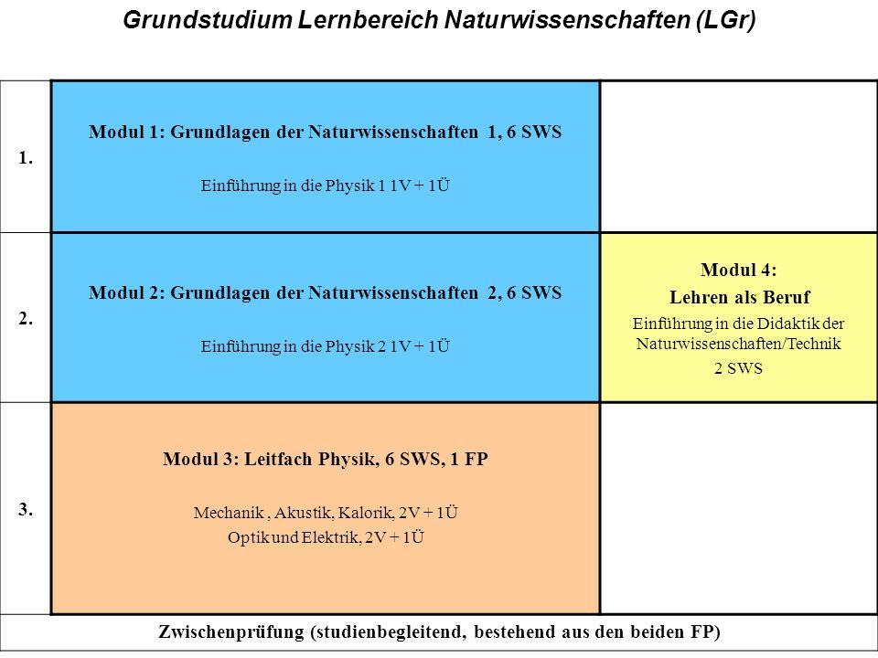 GH, Grundstudium Grundstudium Lernbereich Naturwissenschaften (LGr)
