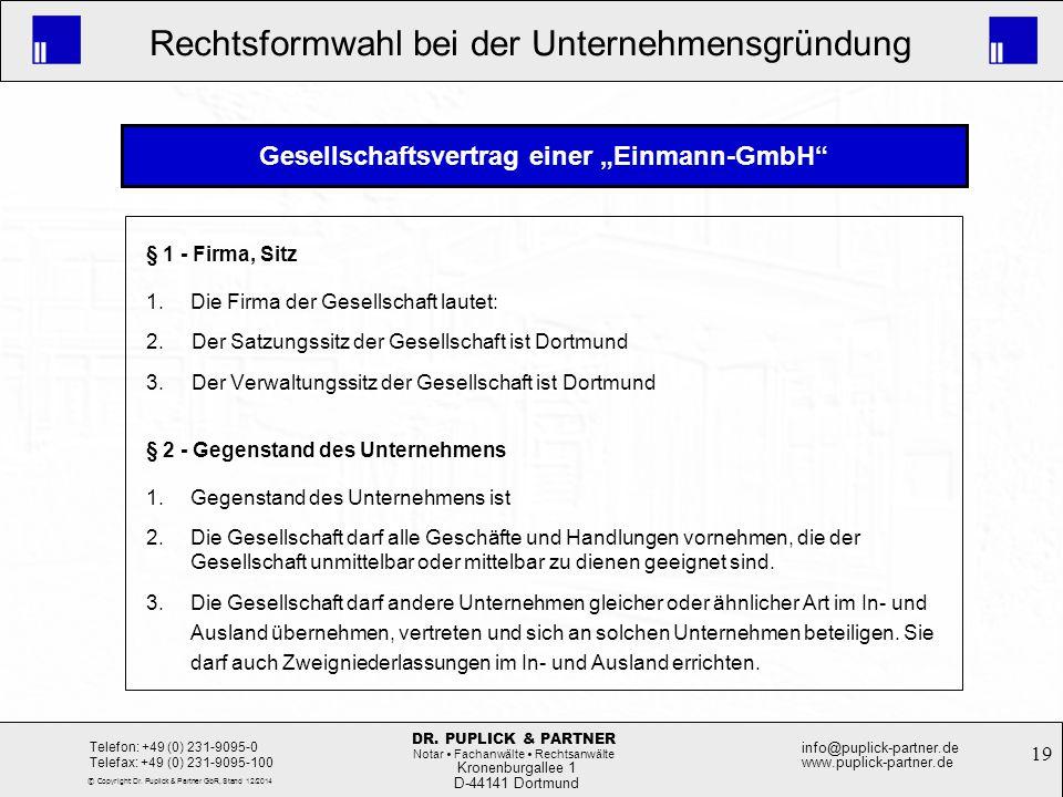 """Gesellschaftsvertrag einer """"Einmann-GmbH"""