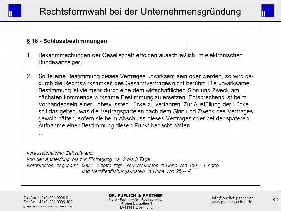 § 16 - Schlussbestimmungen