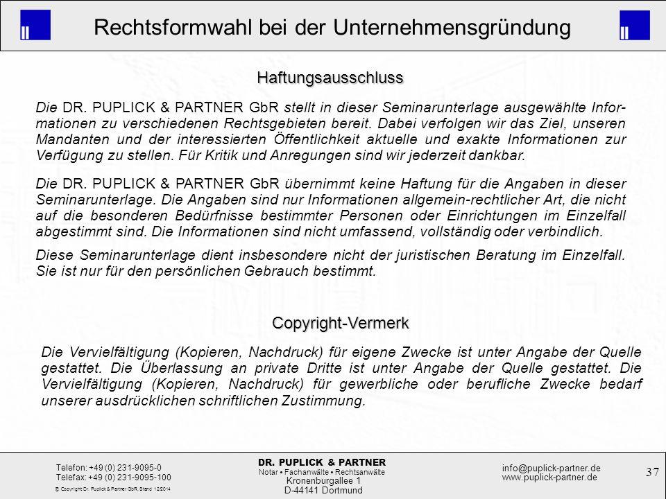 Haftungsausschluss Copyright-Vermerk