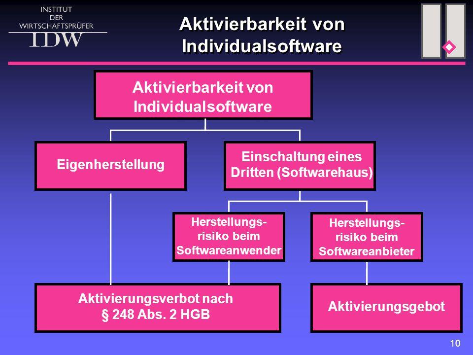 Aktivierbarkeit von Individualsoftware
