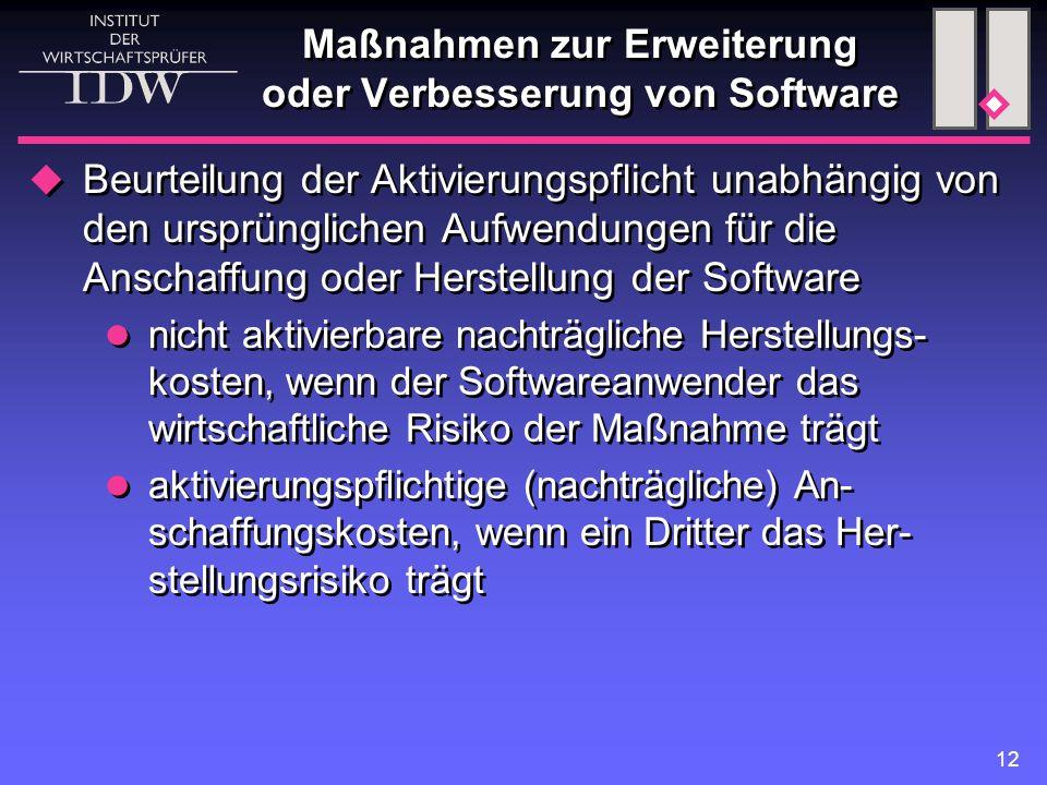 Maßnahmen zur Erweiterung oder Verbesserung von Software