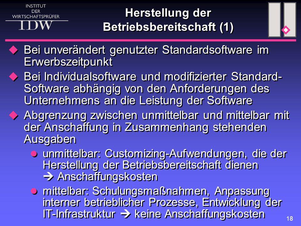 Herstellung der Betriebsbereitschaft (1)