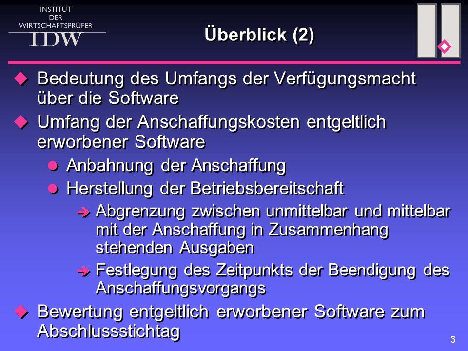 Bedeutung des Umfangs der Verfügungsmacht über die Software