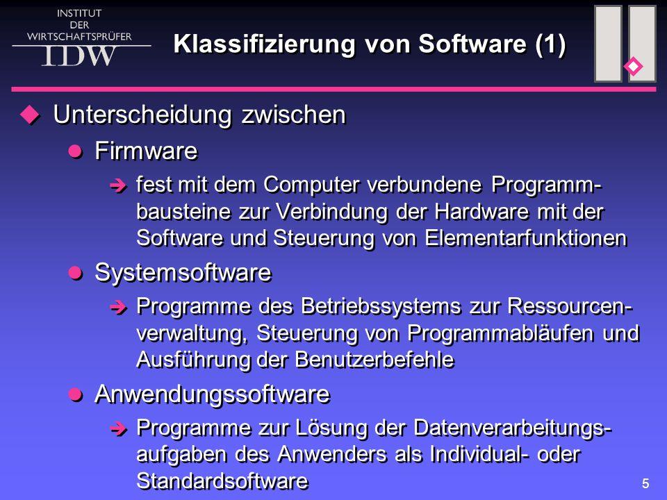 Klassifizierung von Software (1)