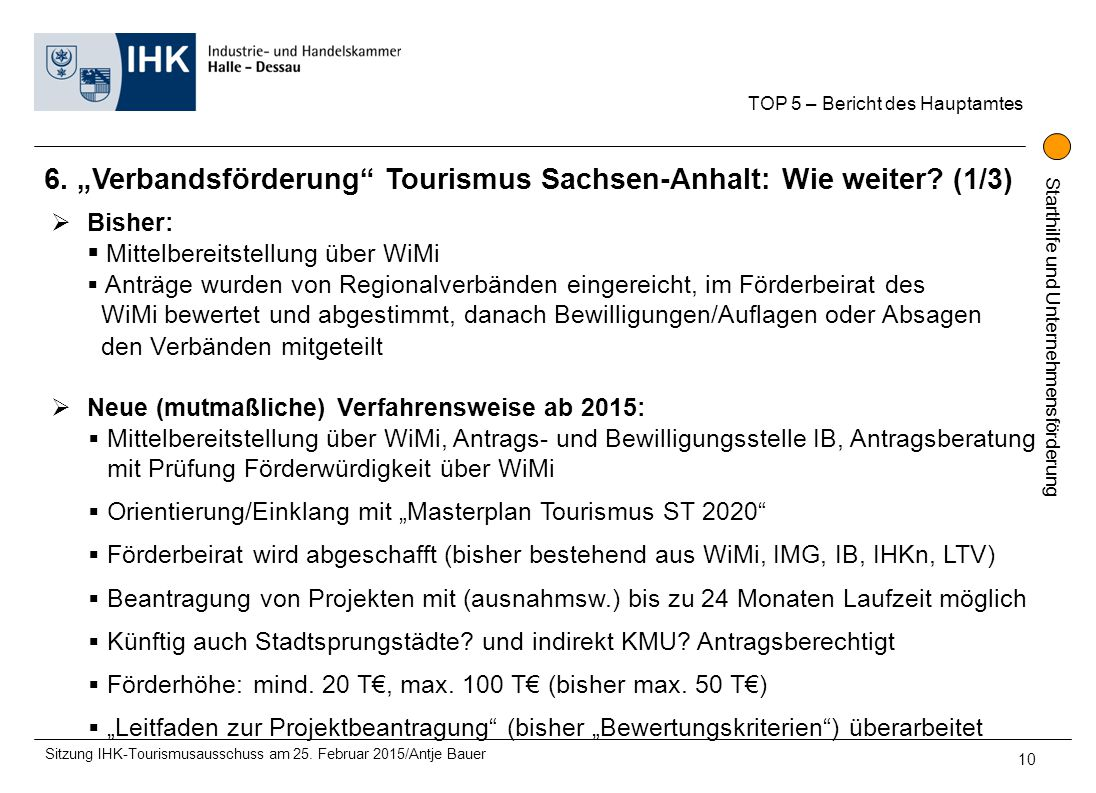"""6. """"Verbandsförderung Tourismus Sachsen-Anhalt: Wie weiter (1/3)"""