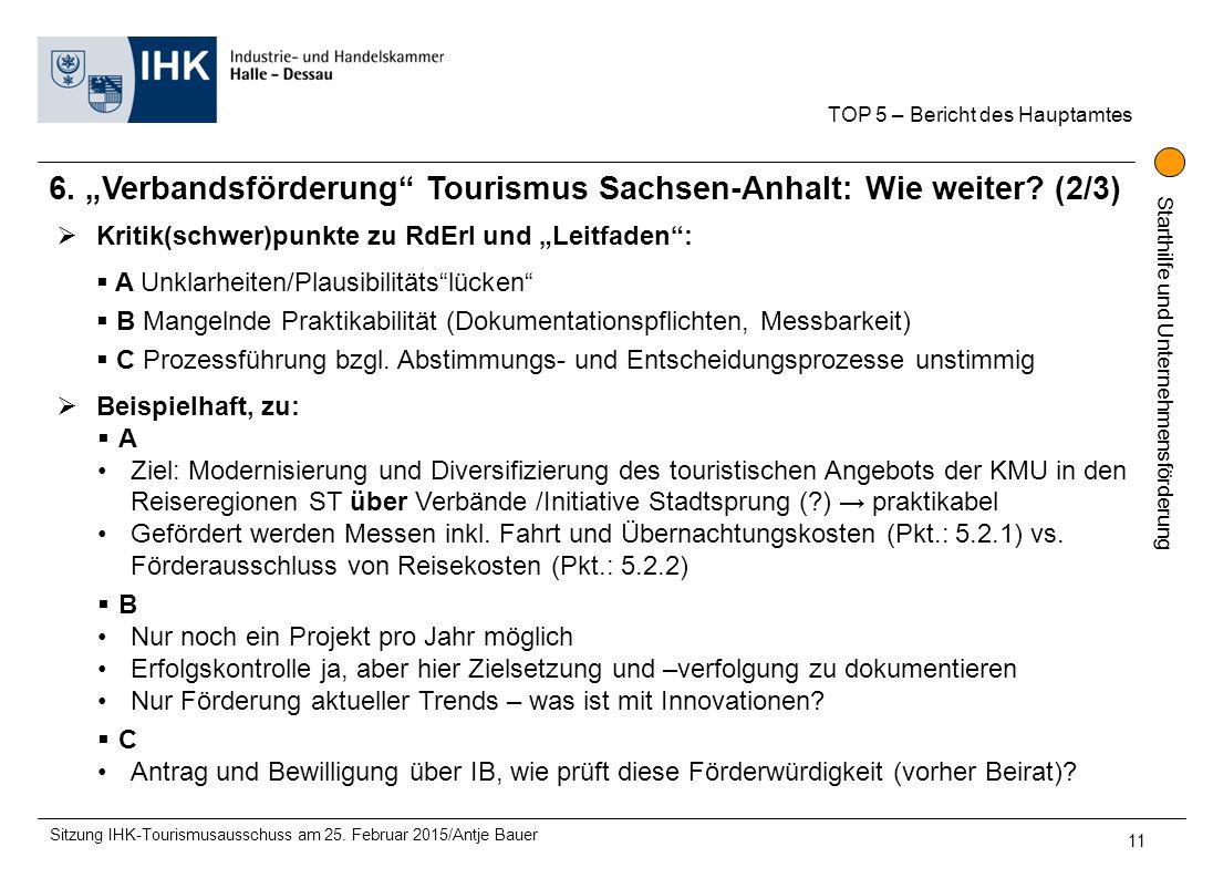 """6. """"Verbandsförderung Tourismus Sachsen-Anhalt: Wie weiter (2/3)"""