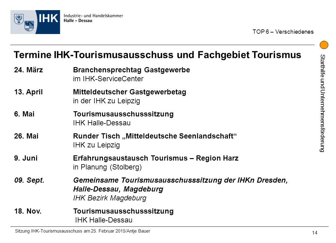 Termine IHK-Tourismusausschuss und Fachgebiet Tourismus