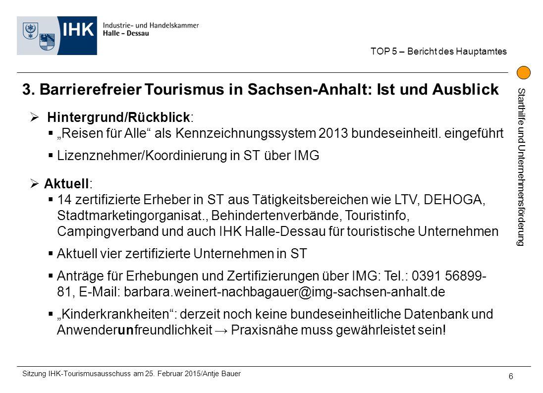 3. Barrierefreier Tourismus in Sachsen-Anhalt: Ist und Ausblick