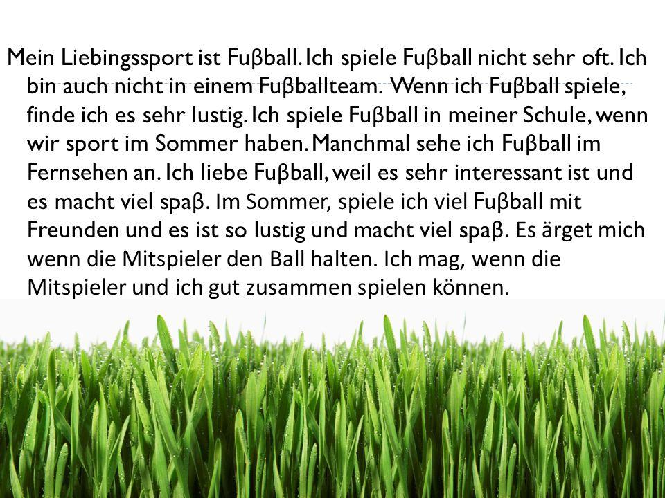 Mein Liebingssport ist Fuβball. Ich spiele Fuβball nicht sehr oft