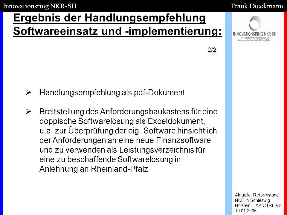 Ergebnis der Handlungsempfehlung Softwareeinsatz und -implementierung: