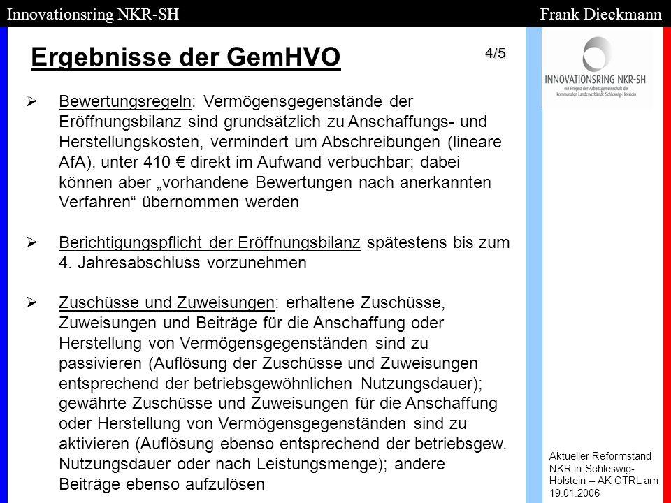 Ergebnisse der GemHVO Innovationsring NKR-SH Frank Dieckmann