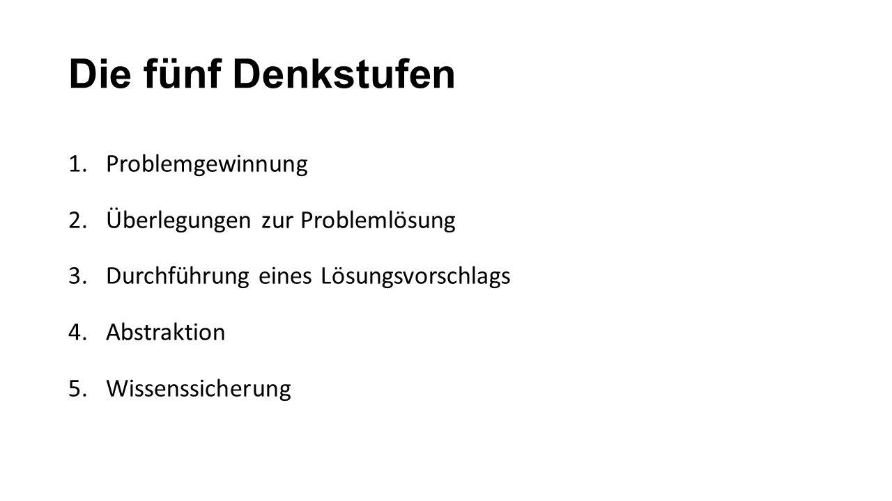Die fünf Denkstufen Problemgewinnung Überlegungen zur Problemlösung