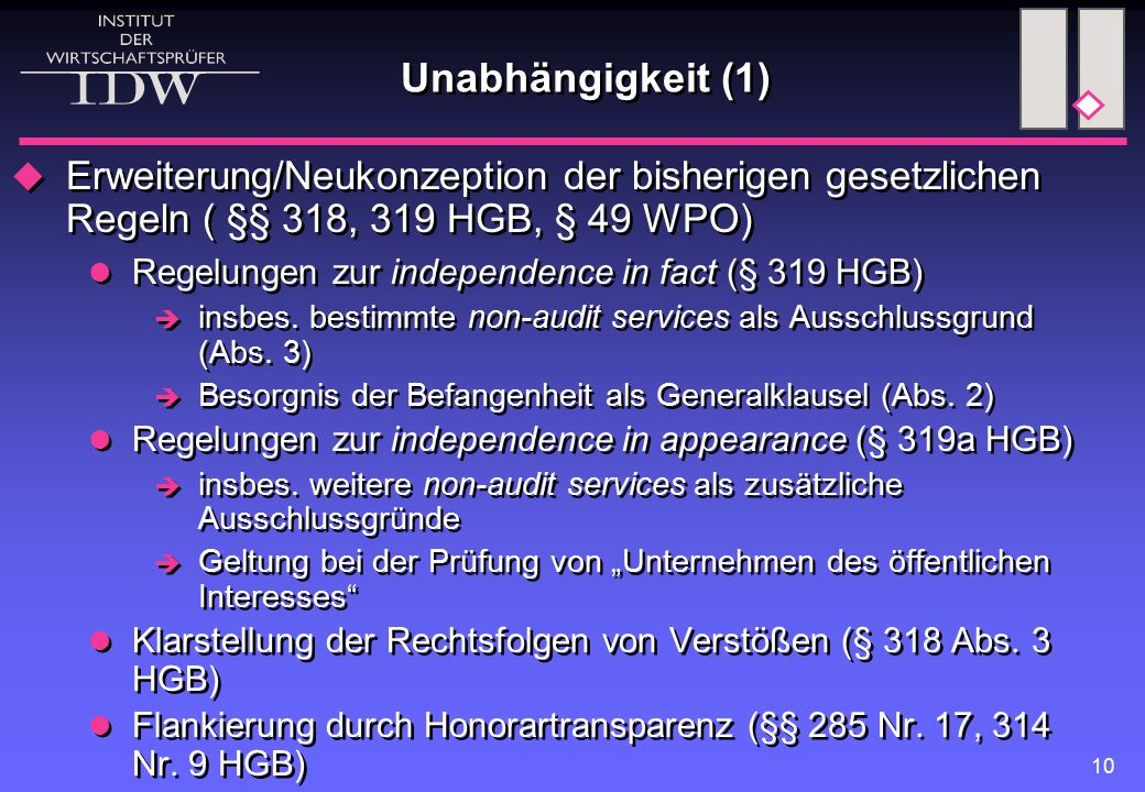 Unabhängigkeit (1) Erweiterung/Neukonzeption der bisherigen gesetzlichen Regeln ( §§ 318, 319 HGB, § 49 WPO)