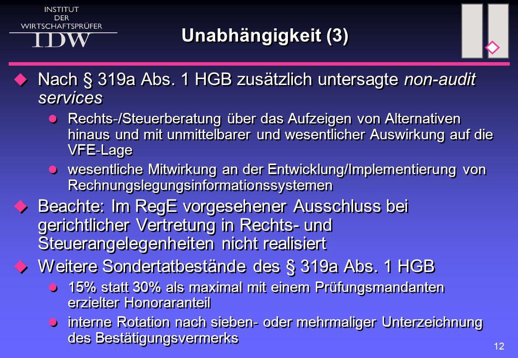 Unabhängigkeit (3) Nach § 319a Abs. 1 HGB zusätzlich untersagte non-audit services.