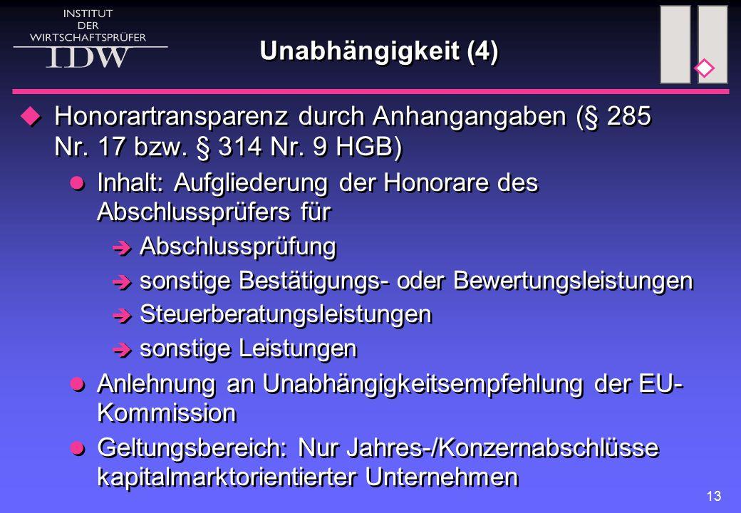 Unabhängigkeit (4) Honorartransparenz durch Anhangangaben (§ 285 Nr. 17 bzw. § 314 Nr. 9 HGB)