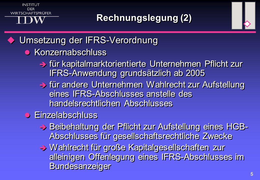 Umsetzung der IFRS-Verordnung