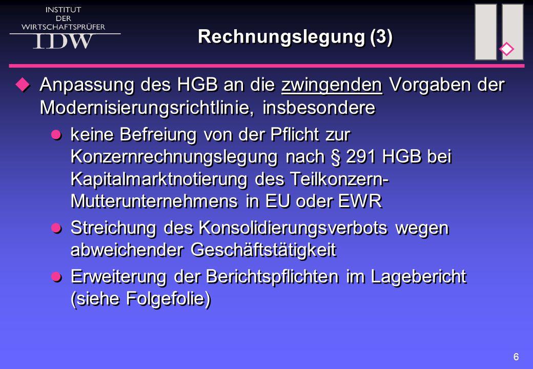 Rechnungslegung (3) Anpassung des HGB an die zwingenden Vorgaben der Modernisierungsrichtlinie, insbesondere.