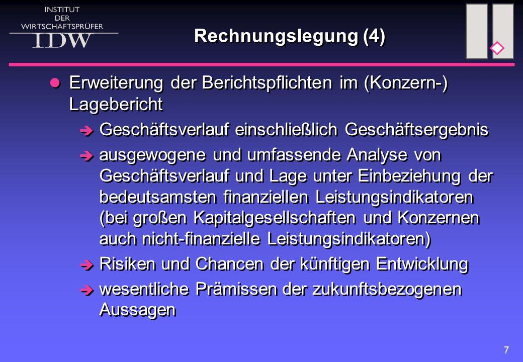 Rechnungslegung (4) Erweiterung der Berichtspflichten im (Konzern-) Lagebericht. Geschäftsverlauf einschließlich Geschäftsergebnis.