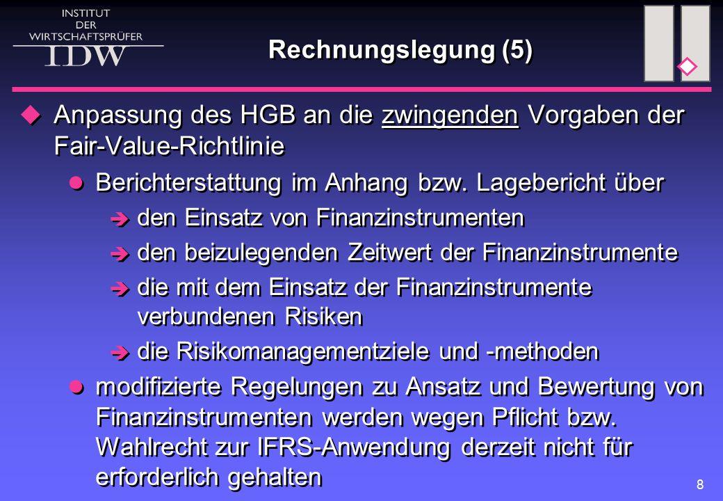 Anpassung des HGB an die zwingenden Vorgaben der Fair-Value-Richtlinie