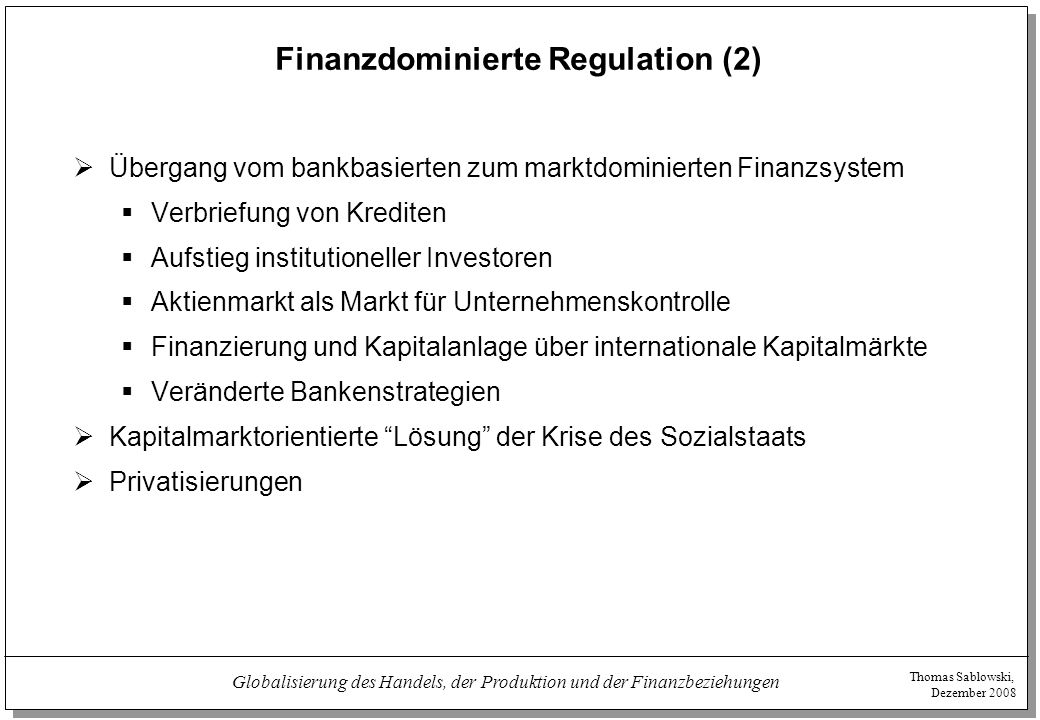 Finanzdominierte Regulation (2)