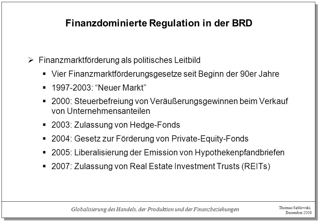 Finanzdominierte Regulation in der BRD