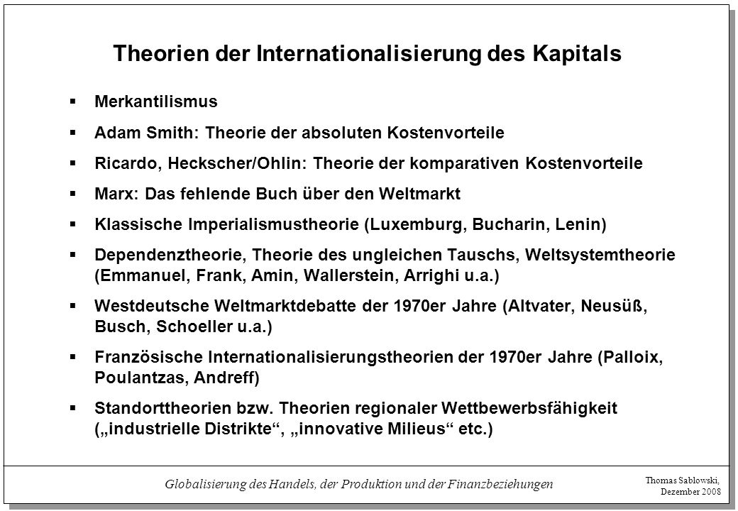 Theorien der Internationalisierung des Kapitals
