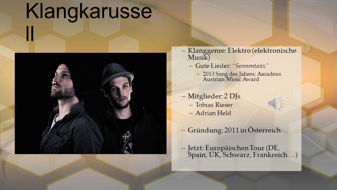 Klangkarussell Klanggenre: Elektro (elektronische Musik)