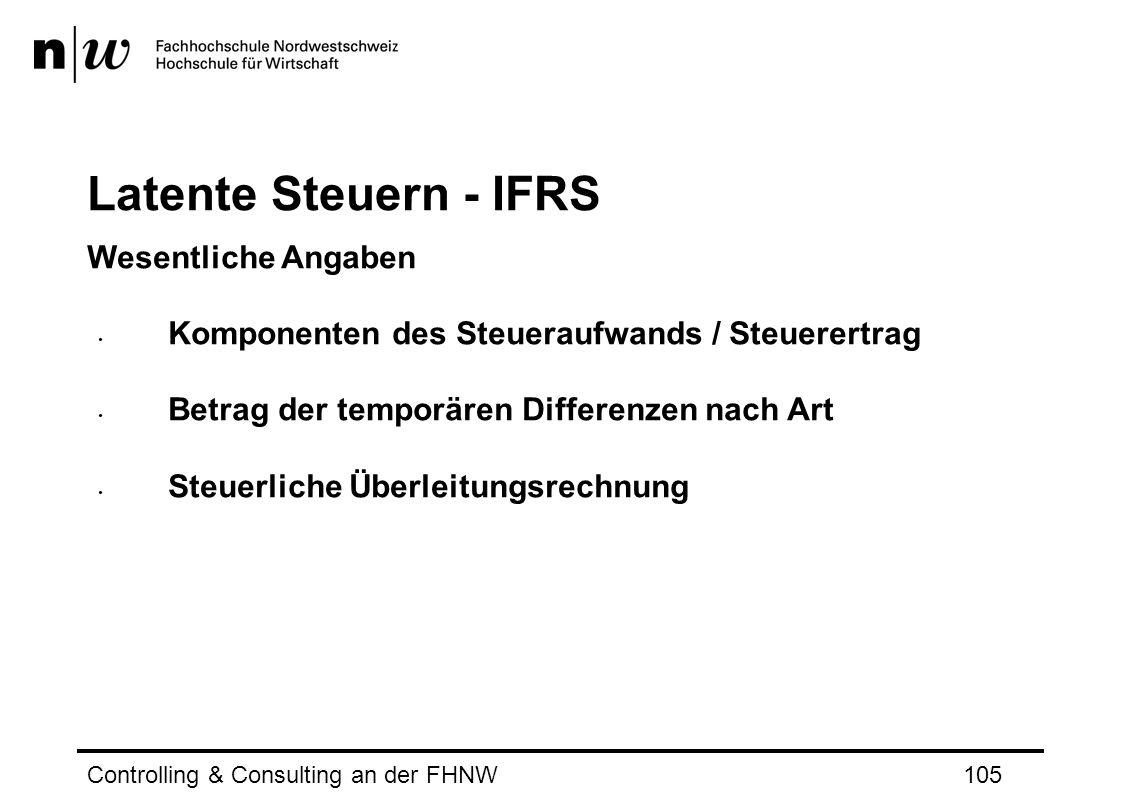 Latente Steuern - IFRS Wesentliche Angaben