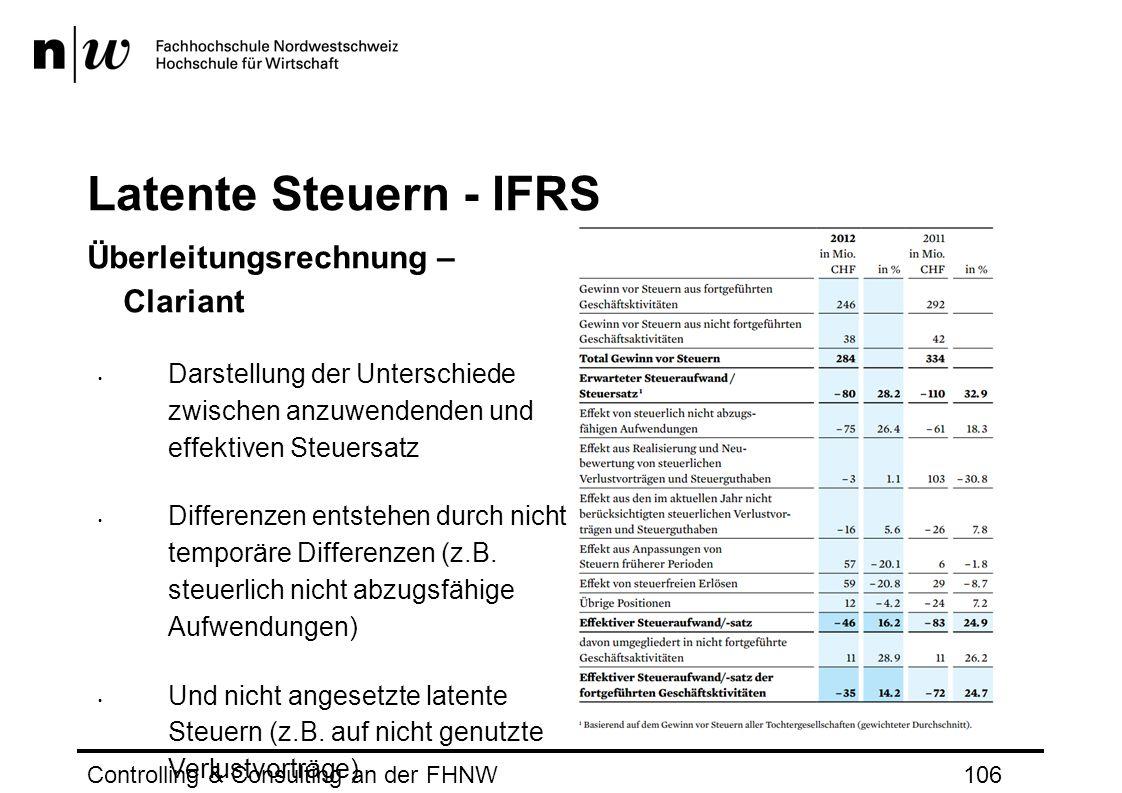 Latente Steuern - IFRS Überleitungsrechnung – Clariant