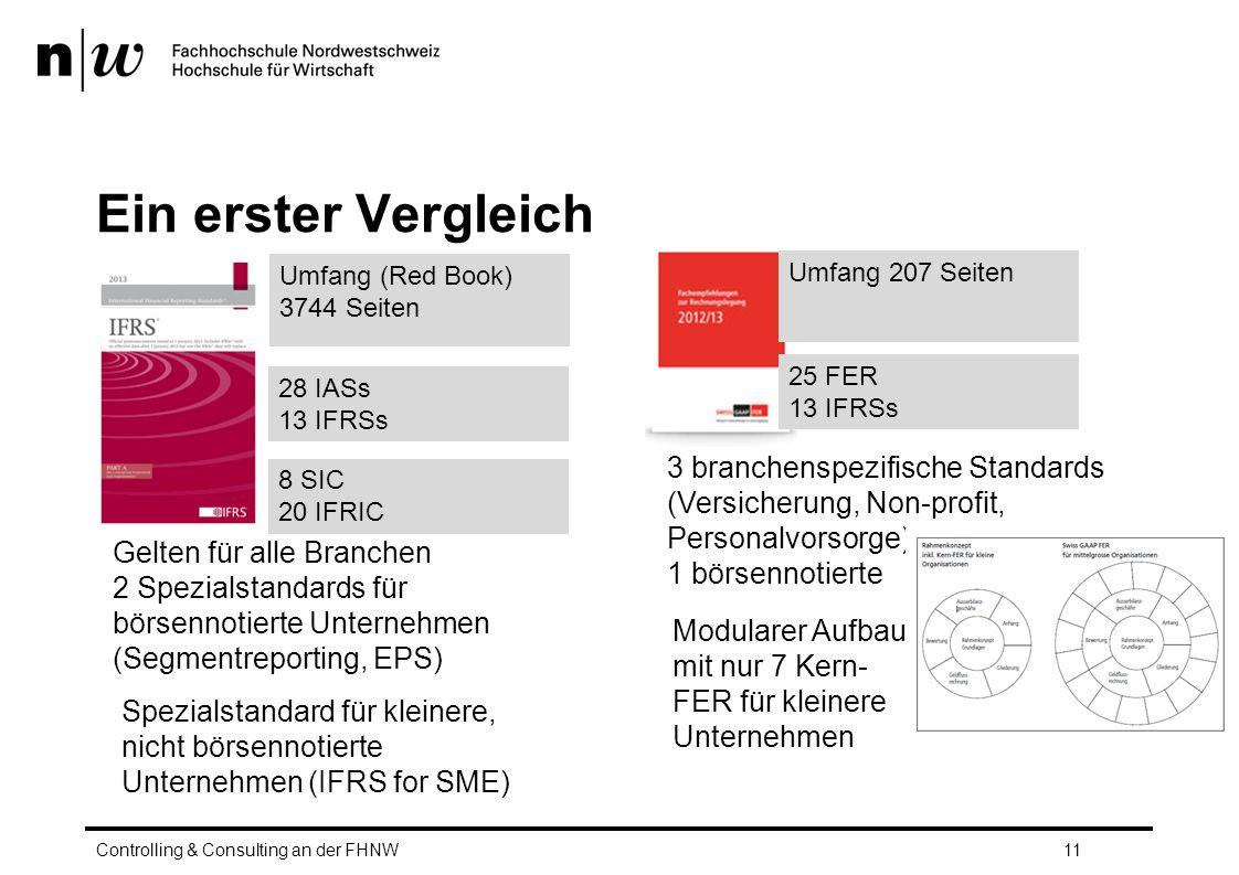 Ein erster Vergleich Umfang (Red Book) 3744 Seiten. Umfang 207 Seiten. 25 FER. 13 IFRSs. 28 IASs.