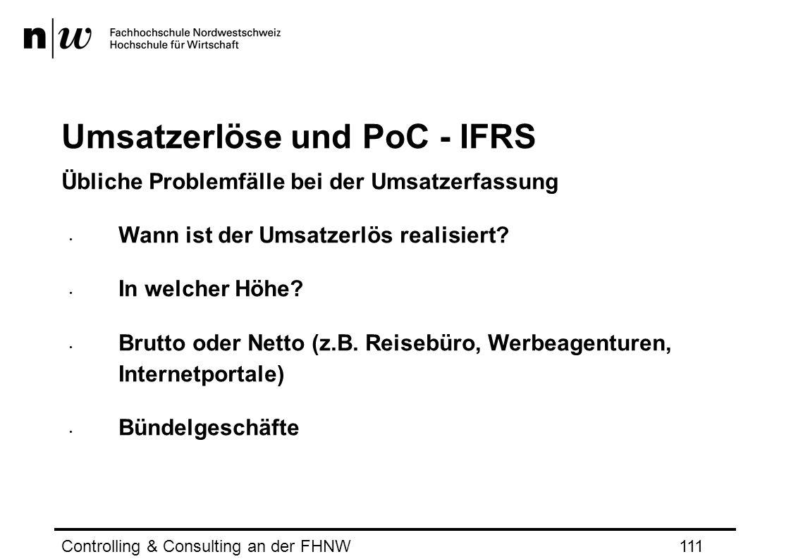Umsatzerlöse und PoC - IFRS