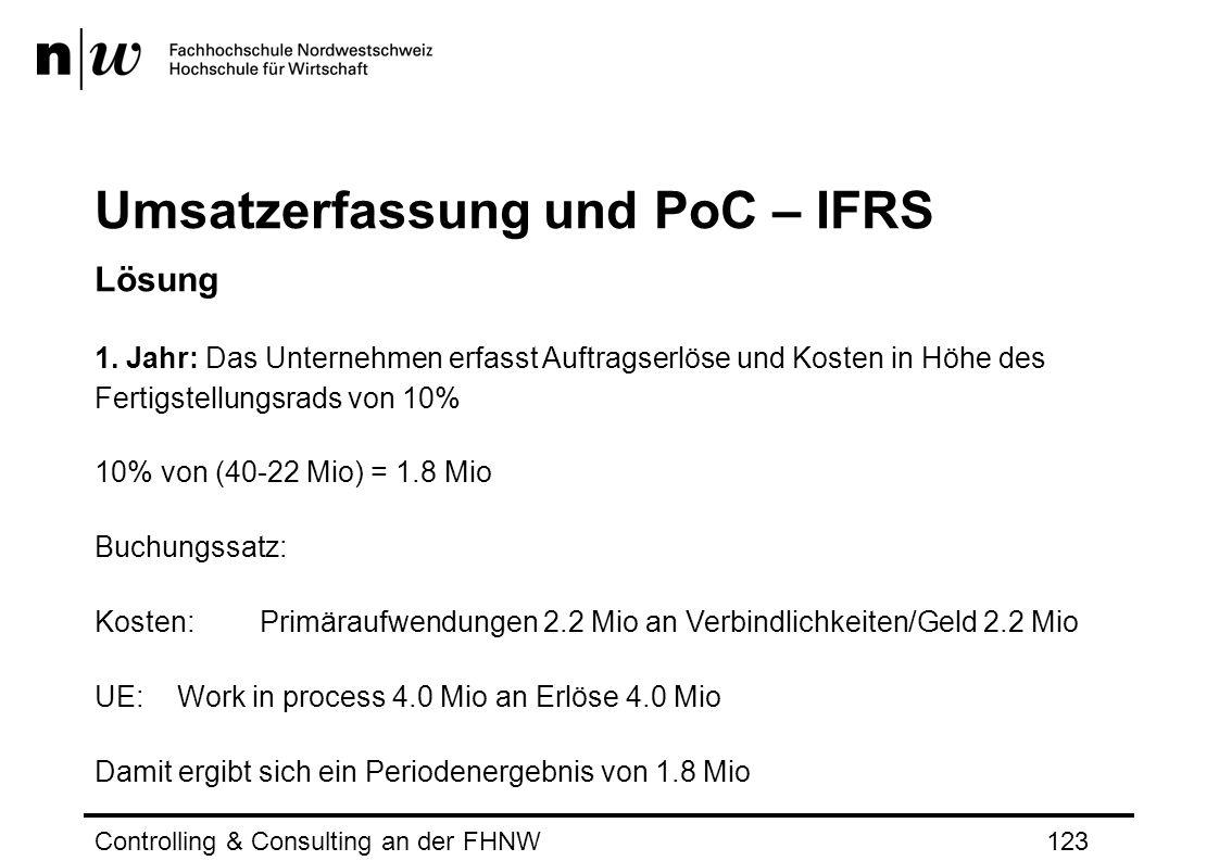 Umsatzerfassung und PoC – IFRS