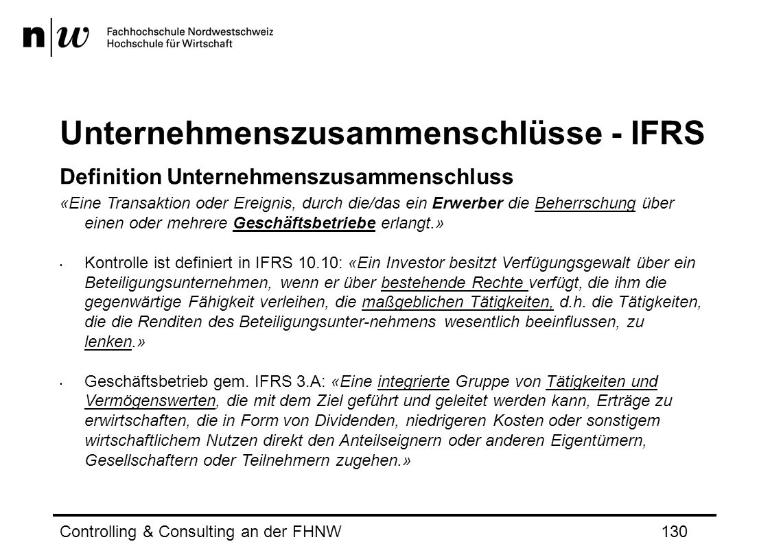 Unternehmenszusammenschlüsse - IFRS
