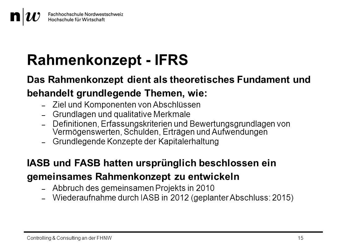 Rahmenkonzept - IFRS Das Rahmenkonzept dient als theoretisches Fundament und behandelt grundlegende Themen, wie: