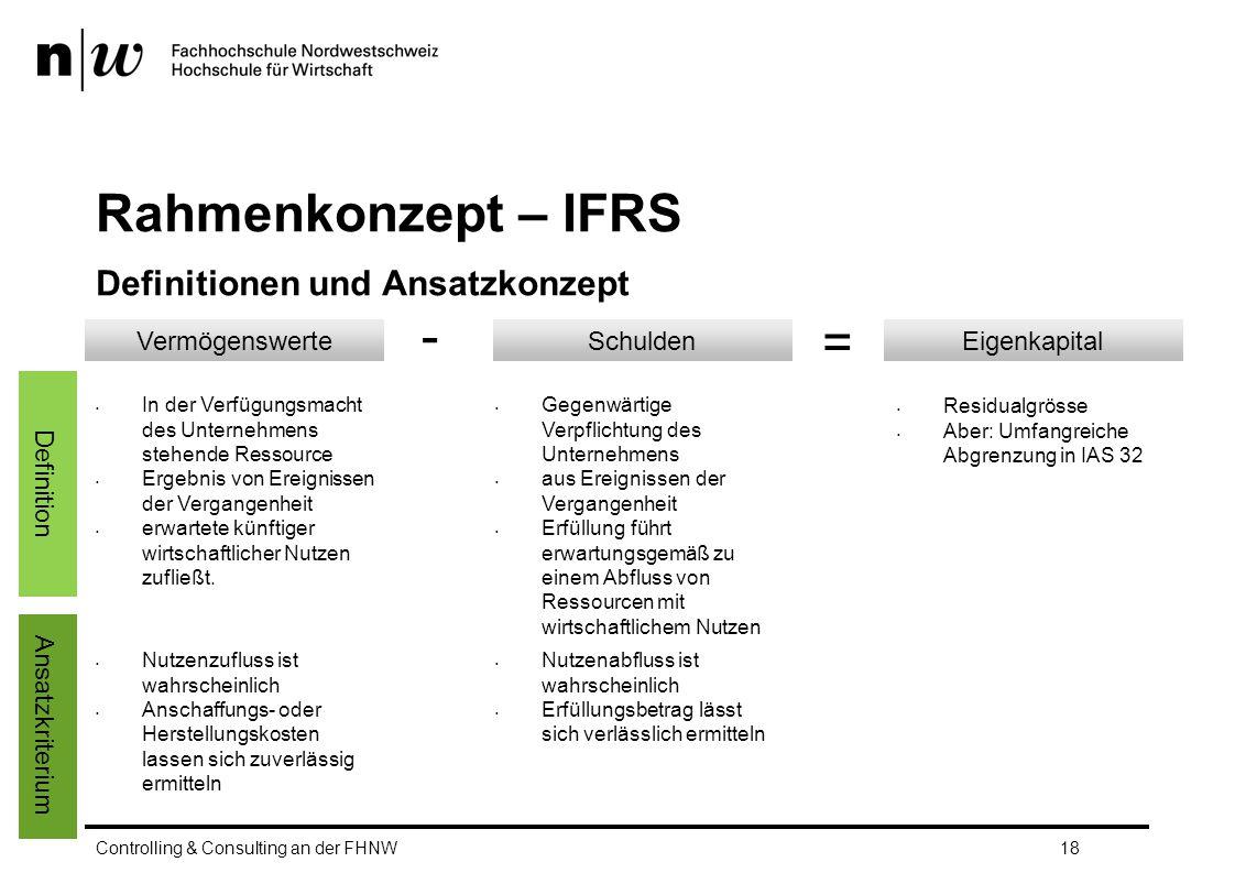 Rahmenkonzept – IFRS - = Definitionen und Ansatzkonzept Vermögenswerte